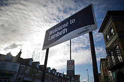 ©  London News Pictures.  22/11/2013. A 'Welcome To Lambeth' sign in the Borough of Lambeth, South London. Police have rescued three women from a house in Lambeth who were being held as slaves for 30 years. A couple, both aged 67, who were detained yesterday have been freed on bail. Photo credit : Ben Cawthra/LNP