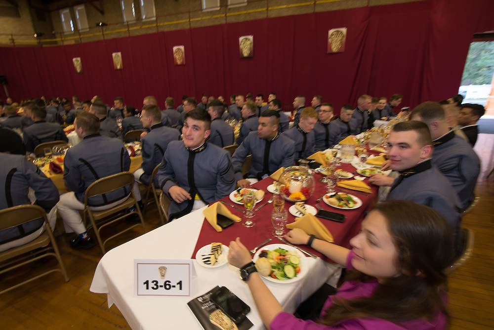 Photos of students, both CORPS and Civilian eating in the dinning hall in the Wise Campus Center.