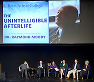 """HS1WORDS27P<br /> From left, Curtis Childs, moderator, Raymond Moody, MD, PhD, Lisa Smartt, MA, Erica Goldblatt Hyatt, DSW, MBE, Dan Synnestvedt, PhD,  and Rev. Jonathan Rose, MDiv, PhD. speak with each other before the start of """"The Unintelligible Afterlife What Deathbed Conversations tell us about A World Beyond """" at Bryn Athyn College's Mitchell Performing Arts Center Saturday September 19, 2015 in Bryn Athyn, Pennsylvania.  Erica Goldblatt Hyatt, a Bryn Athyn professor, says she's not interested in finding a window the afterlife, but helping the living understand what's happening with their dying relatives. (William Thomas Cain/For The Inquirer)"""