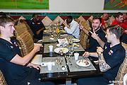 ESTEPONA - 08-01-2016, AZ in Spanje 8 januari, AZ speler Markus Henriksen, AZ speler Muamer Tankovic, AZ speler Mattias Johansson