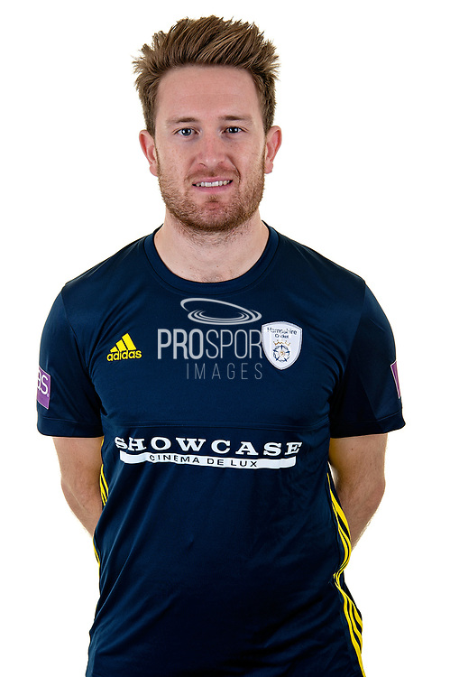 Liam Dawson of Hampshire in Royal London One Day Cup kit  during the Hampshire County Cricket Club Media Day at the Ageas Bowl, Southampton, United Kingdom on 10 April 2018. Picture by Dave Vokes.