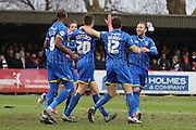Ryan Sweeney of AFC Wimbledon celebrates with the team during the Sky Bet League 2 match between AFC Wimbledon and Luton Town at the Cherry Red Records Stadium, Kingston, England on 13 February 2016. Photo by Stuart Butcher.