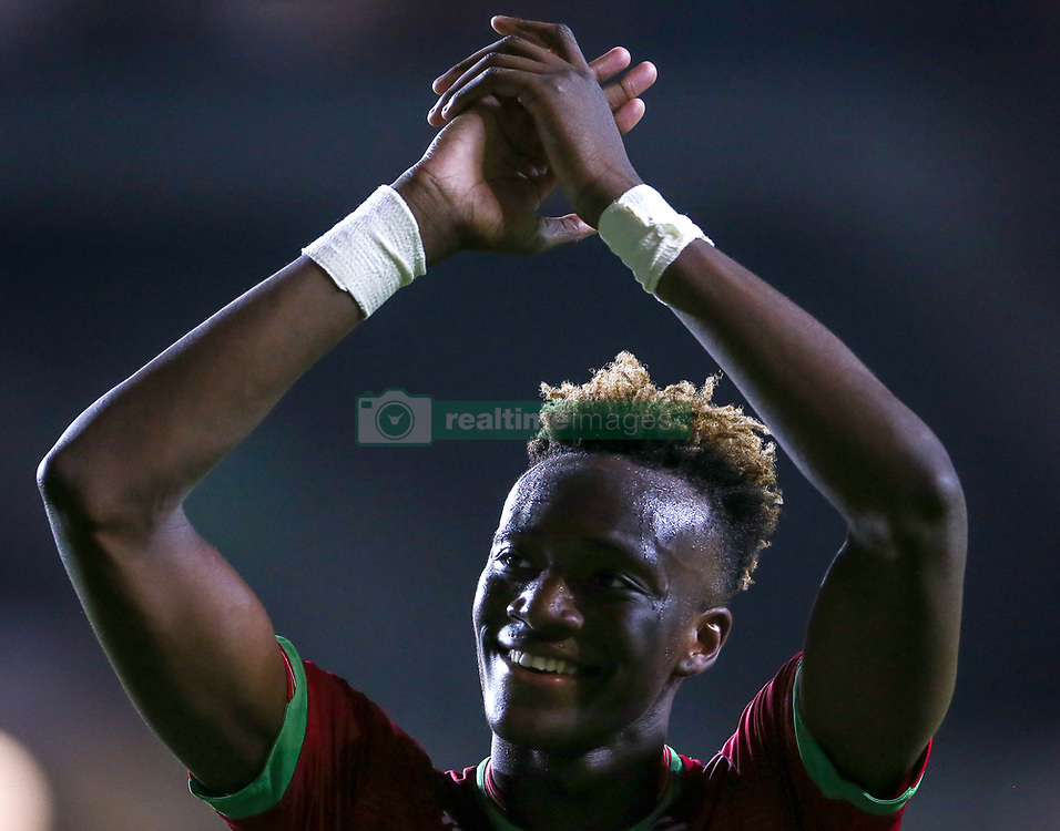 """Swansea City's Tammy Abraham during the Carabao Cup, Second Round match at Stadium MK, Milton Keynes. PRESS ASSOCIATION Photo. Picture date: Tuesday August 22, 2017. See PA story SOCCER MK Dons. Photo credit should read: Scott Heavey/PA Wire. RESTRICTIONS: EDITORIAL USE ONLY No use with unauthorised audio, video, data, fixture lists, club/league logos or """"live"""" services. Online in-match use limited to 75 images, no video emulation. No use in betting, games or single club/league/player publications."""