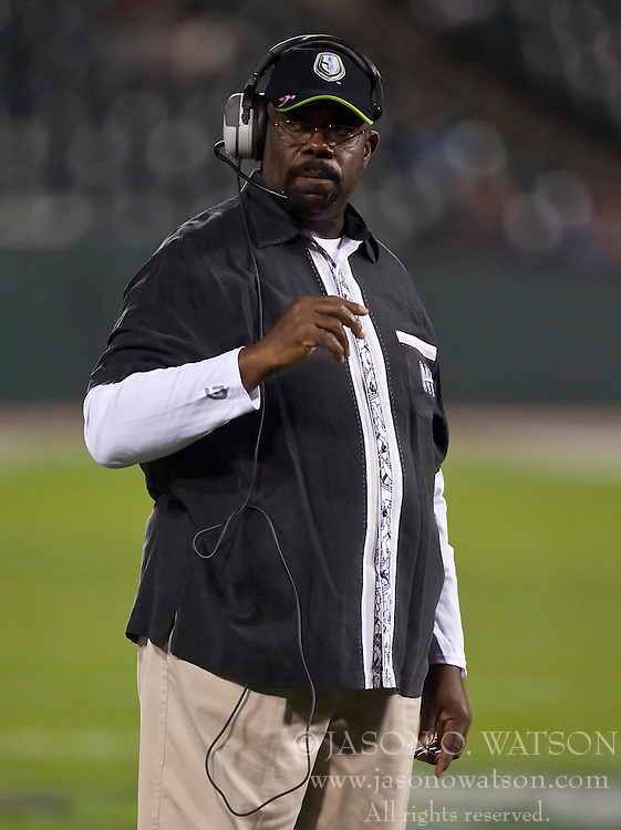 October 17, 2009; San Francisco, CA, USA;  New York Sentinels head coach Ted Cottrell during the third quarter against the California Redwoods at AT&T Park.  California defeated New York 24-7.