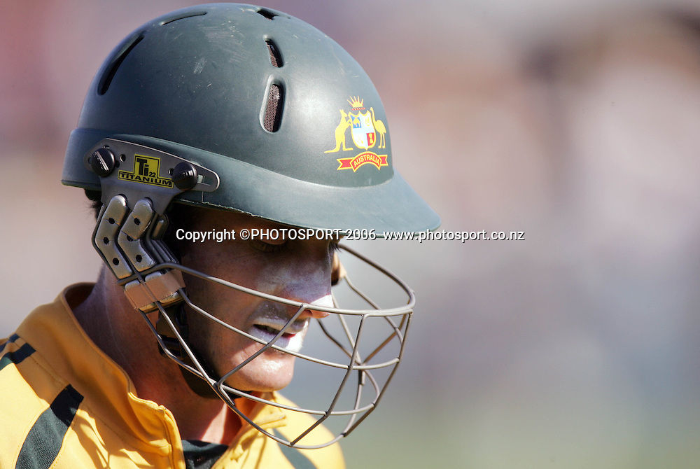 Australian batsman Michael Hussey makes his way back to the changing rooms after being dismissed for 13 runs during the 3rd Chappell Hadlee one day match at Seddon Park, Hamilton, New Zealand on Tuesday 20 February 2007. Photo: Andrew Cornaga/PHOTOSPORT<br /><br /><br />200207