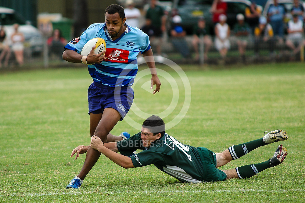 Parramatta winger Roland Herea is too fast for the covering defence in the final of the 2007 Two Blues Sevens Tournament.