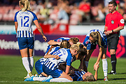 Aileen Whelan (Brighton) celebrates her goal with her team mates during the FA Women's Super League match between Brighton and Hove Albion Women and Chelsea at The People's Pension Stadium, Crawley, England on 15 September 2019.