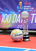 Picture SWpix.com / www.photosport.nz  - 03/04/2019 -Netball NWC2019 Vitality Netball World Cup Liverpool 2019 - 100 days to go Event  Media City, Manchester.<br /> The Netball World Cup trophy - gilbert ball