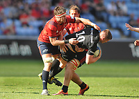 Rugby Union - 2018 / 2019 European Rugby Champions Cup - Semi-final - Saracens vs Munster<br /> <br /> Owen Farrell of Saracens is challenged by Billy Holland (left) and Arno Botha of Munster At Allianz Park.<br /> <br /> Colorsport  / Andrew Cowie