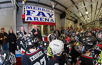 "Merrill Fay says a word of thanks to the large crowd of ""lakers"" who gathered in his honor during the naming of the Laconia Ice Arena to the ""Merrill Fay Arena"" on Friday evening.  (Karen Bobotas/for the Laconia Daily Sun)"