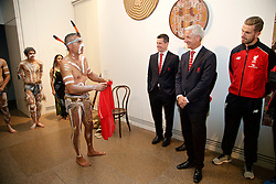 ADELAIDE, AUSTRALIA - Sunday, July 19, 2015: Liverpool's Ian Rush signs a shirt for Karl Telfer Windal of Aboriginal dance group Paitya during a visit to the Art Gallery of South Australia ahead of a preseason friendly match against Adelaide United on day seven of the club's preseason tour. (Pic by David Rawcliffe/Propaganda)