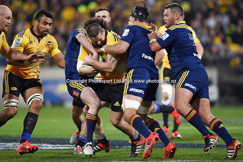 Super Rugby Final match between the Hurricanes and Highlanders at Westpac Stadium, Wellington, New Zealand. 4 July 2015. Copyright Photo: Andrew Cornaga / www.Photosport.nz