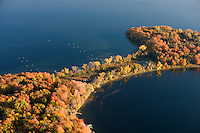 Autumn colors and blue water in an aerial photograph of Minnesota's Lake Minnetonka near Minneapolis.