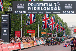 London, UK. 3 August, 2019. More than 500 smartly-dressed Brompton riders take part in a Le Mans-style dash at the start of the Brompton World Championship Final. The race takes place over a 16km 8-lap circuit around St James's Park and it was the fifth successive year that the race had featured as part of the Prudential RideLondon event.