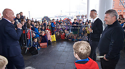 CARDIFF, WALES - Wednesday, May 29, 2019: Wales' manager Ryan Giggs and assistant coach Osian Roberts give a Q&A with youngster on the steps of the Senedd after a press conference at the Wales Millennium Centre during the Urdd National Eisteddfod to announce the squad for the forthcoming UEFA Euro 2020 Qualifying Group E matches for Wales against Croatia and Hungary. (Pic by David Rawcliffe/Propaganda)