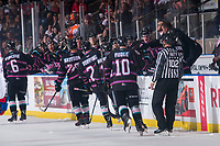 KELOWNA, BC - SEPTEMBER 21: The Kelowna Rockets celebrate the tying goal of the game against the Spokane Chiefs at Prospera Place on September 21, 2019 in Kelowna, Canada. (Photo by Marissa Baecker/Shoot the Breeze)