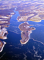 Aerial view of Ice forms in the Susquahannah River Aerial views of artistic patterns in the earth.
