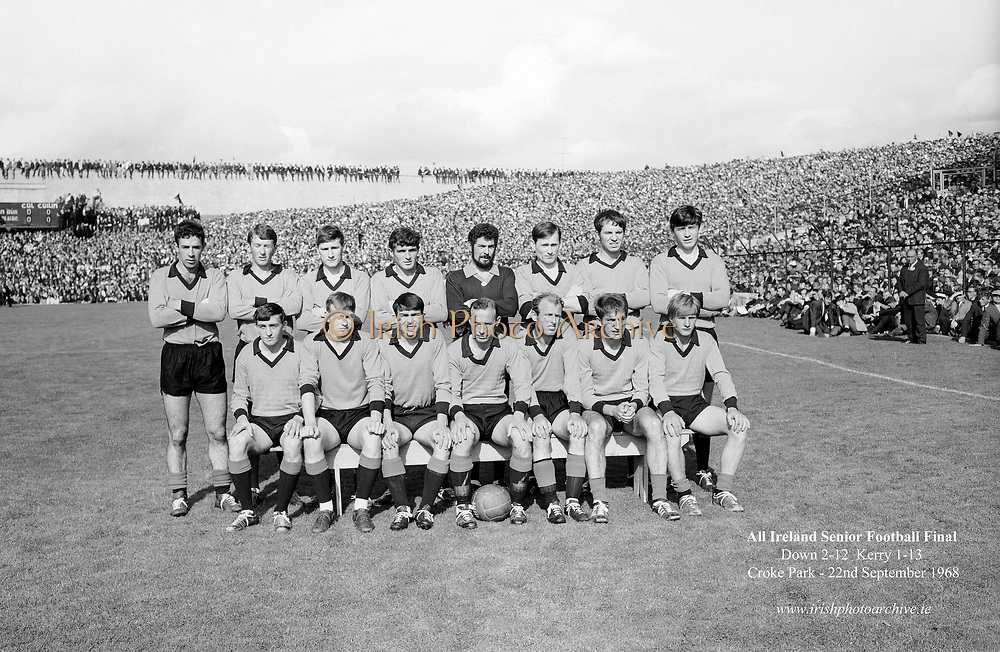 GAA All Ireland Senior Football Final Down v. Kerry 22nd September 1968 Croke Park<br /> <br /> The Down Team *** Local Caption *** It is important to note that under the COPYRIGHT AND RELATED RIGHTS ACT 2000 the copyright of these photographs are the property of the photographer and they cannot be copied, scanned, reproduced or electronically stored in any form whatsoever without the written permission of the photographer