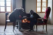 November 7, 2016 - Breil-sur-Roya, France: Refugees from Sudan study French in Francoise Cotta's house where they found shelter. Cotta is a lawyer and a member of a clandestine network that helps migrants who walked into the valley from Ventimiglia, Italy, with shelter, food and transportation.<br /> <br /> 7 novembre 2016 - Breil-sur-Roya, France: Les réfugiés soudanais étudient le français dans la maison de Françoise Cotta où ils ont trouvé refuge. Cotta est avocate et membre d'un réseau qui aide les migrants qui sont entrés dans la vallée de la Roya depuis Vintimille.