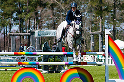 March 22, 2019 - Raeford, North Carolina, US - March 22, 2019 - Raeford, N.C., USA - LIZ HALLIDAY-SHARP of the United States riding COOLEY QUICKSILVER competes in the show jumping CCI-4S division at the sixth annual Cloud 11-Gavilan North LLC Carolina International CCI and Horse Trial, at Carolina Horse Park. The Carolina International CCI and Horse Trial is one of North AmericaÃ•s premier eventing competitions for national and international eventing combinations, hosting International competition at the CCI2*-S through CCI4*-S levels and National levels of Training through Advanced. (Credit Image: © Timothy L. Hale/ZUMA Wire)
