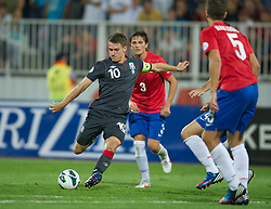 NOVI SAD, SERBIA - Tuesday, September 11, 2012: Wales' captain Aaron Ramsey in action against Serbia during the 2014 FIFA World Cup Brazil Qualifying Group A match at the Karadorde Stadium. (Pic by David Rawcliffe/Propaganda)