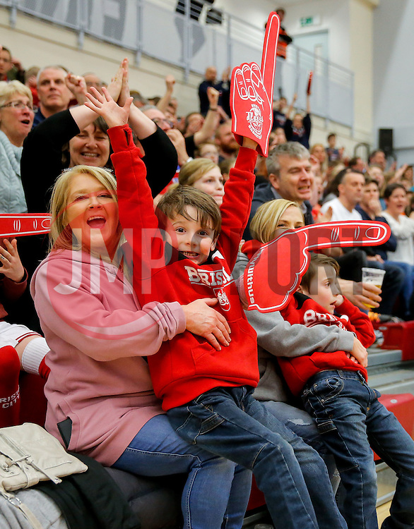 Bristol Flyers fans celebrate - Mandatory byline: Rogan Thomson/JMP - 18/03/2016 - BASKETBALL - SGS Wise Arena - Bristol, England - Bristol Flyers v Cheshire Pheonix - BBL Championship.