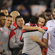 Landon Donovan, USA, is congratulated by team mate Mix Diskerud after his farewell match during the USA Vs Ecuador International match at Rentschler Field, Hartford, Connecticut. USA. 10th October 2014. Photo Tim Clayton
