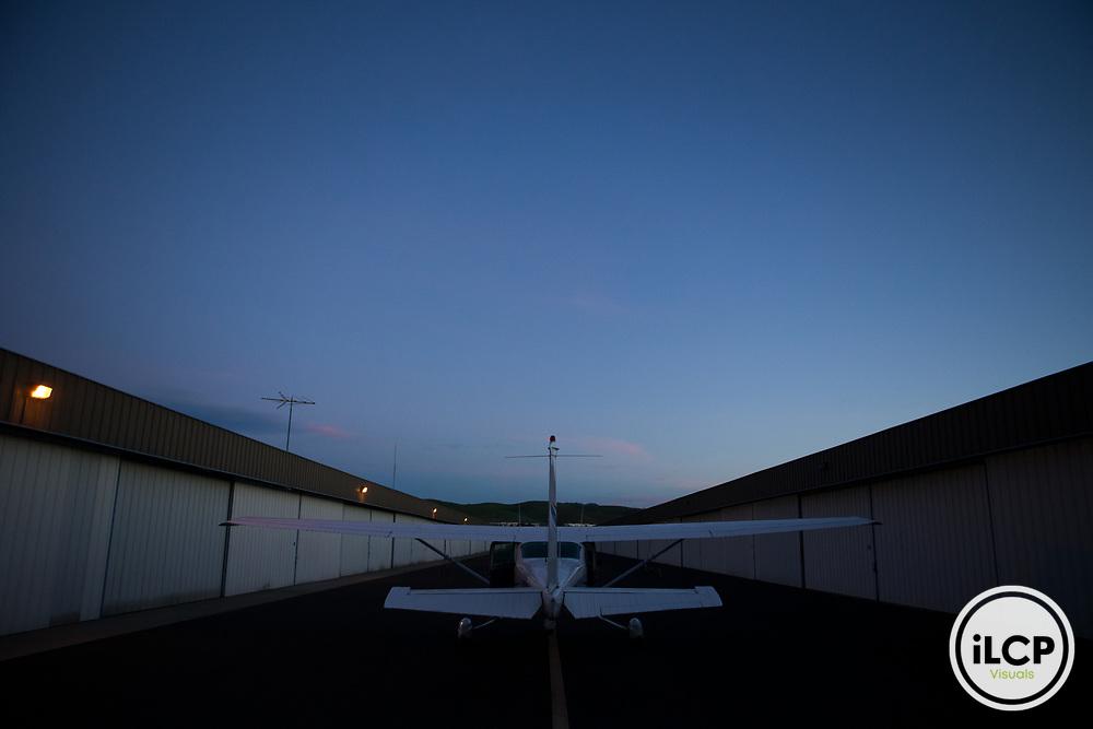 Plane in airport, Santa Cruz Puma Project, Livermore, California
