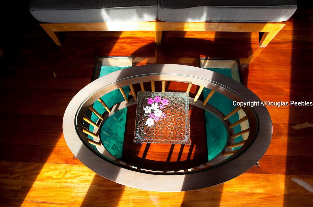 Table over floor window, Likuliku Lagoon Resort, Malolo Island, Mamanucas, Fiji