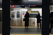 4 March 2013 - New York, NY. New York City N train at Times Square Photograph by Latima Stephens/CUNY Journalism Photo