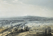 General view of ground on which the Battle of Magenta was fought 4 June 1859 (Second War of Italian Independence). French victory. Tinted lithograph.