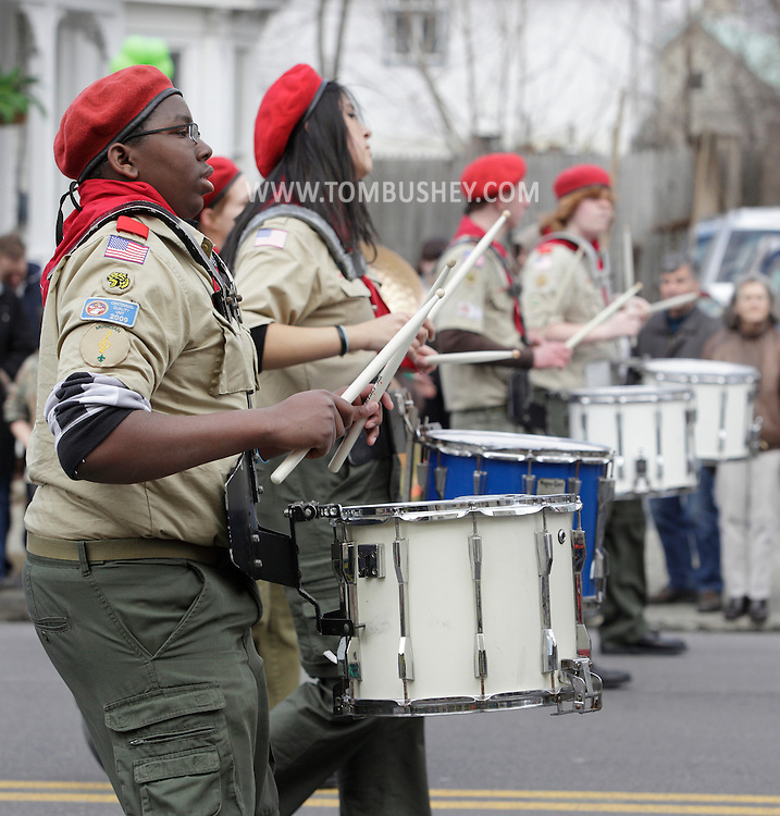 Goshen, New York - Members of the Maybrook Boy Scout Troop 236 band march in the mid-Hudson St. Patrick's Day parade on March 13, 2011. ©Tom Bushey / The Image Works