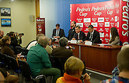 (L-R) Artur Partyka and Tomasz Majewski and Krzysztof Klimczak and Sebastian Chmara and Patrycja Horsztynska during press conference before athletics meeting Pedro's Cup 2014 at Press Centre of Polish Press Agency in Warsaw, Poland.<br /> <br /> Poland, Warsaw, January 14, 2014.<br /> <br /> Picture also available in RAW (NEF) or TIFF format on special request.<br /> <br /> For editorial use only. Any commercial or promotional use requires permission.<br /> <br /> Mandatory credit:<br /> Photo by © Adam Nurkiewicz / Mediasport