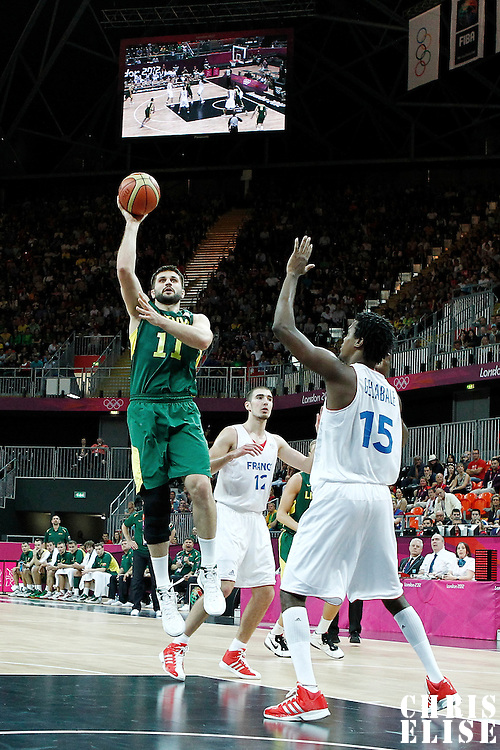 02 August 2012: Lithuania Linas Kleiza goes for the skyhook during 82-74 Team France victory over Team Lithuania, during the men's basketball preliminary, at the Basketball Arena, in London, Great Britain.