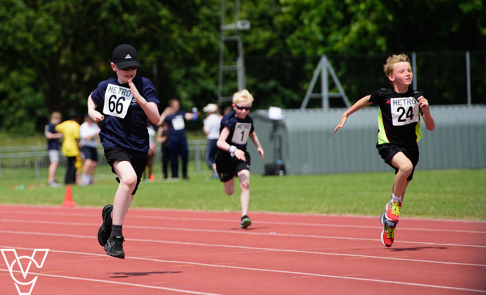 Metro Blind Sport's 2017 Athletics Open held at Mile End Stadium.  100m.  From left, Eoin Quigley, Harry Hughes and Ben Reynolds<br /> <br /> Picture: Chris Vaughan Photography for Metro Blind Sport<br /> Date: June 17, 2017