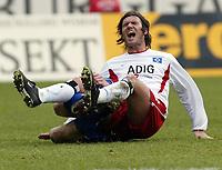 RONALD MAUL FOULT RAPHAEL WICKY<br /> Bundesliga Hansa Rostock - HSV
