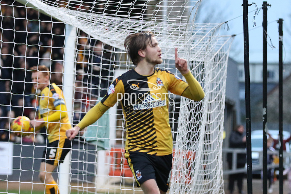 Luke Berry of Cambridge United equalises for Cambridge during the Sky Bet League 2 match between Cambridge United and AFC Wimbledon at the R Costings Abbey Stadium, Cambridge, England on 2 January 2016. Photo by Stuart Butcher.