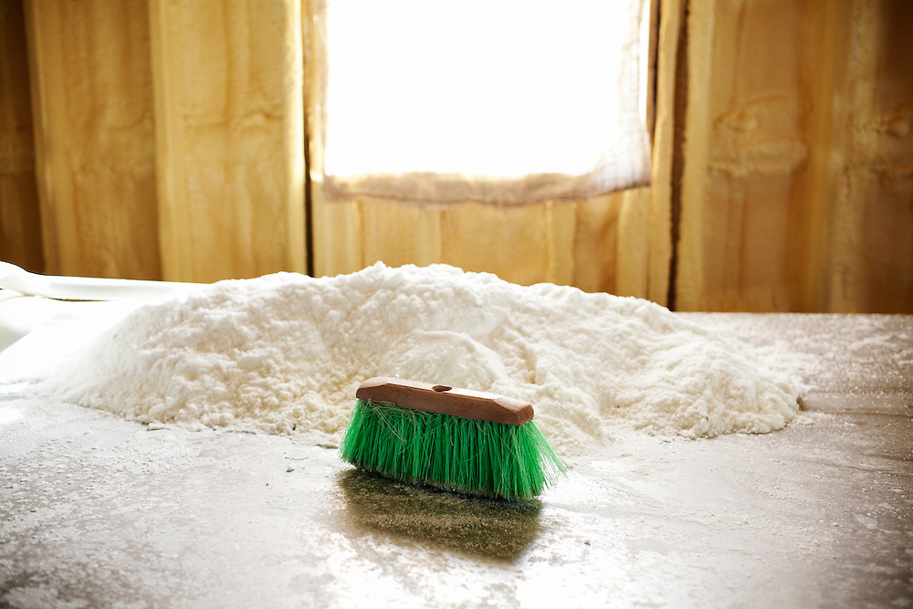 A green brush lies on the salting table at Daneco Alligator Farm in Houma, Louisiana on Thursday, February 18, 2010. Salt is used to preserve the hides before they are shipped to clients around the world.