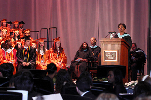 Dayton Public Schools superintendent Lori Ward speaks during the Stivers School For The Arts commencement at the Dayton Masonic Center, Saturday, May 19, 2012.