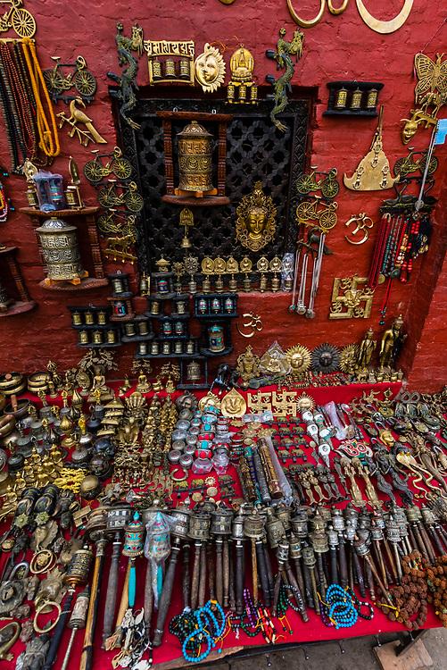 Handicrafts for sale, Swayambhunath Stupa. The temple sits atop a hill west of Kathmandu, Nepal.