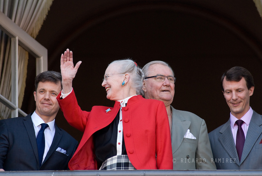 16.04.13. Copenhagen, Denmark.Queen Margrethe II celebrates her 73th birthday with her whole family, From left to right, Crownprince Frederik, Queen Margrethe II, Prince Henrik and Prince Joachim. The royal family appears on the balcony of Christian IX's Palace at Amalienborg Palace.Photo: © Ricardo Ramirez
