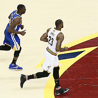 10 June 2016: Golden State Warriors forward Draymond Green (23) is seen next to Cleveland Cavaliers forward LeBron James (23) during the Golden State Warriors 108-97 victory over the Cleveland Cavaliers, during Game Four of the 2016 NBA Finals at the Quicken Loans Arena, Cleveland, Ohio, USA.