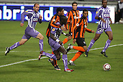 Luiz Adrinao challenges Cheikh Mbengue. Toulouse v Shakatar Donestk, Uefa Europa League, Stade Municipal, Toulouse, France, 5th November 2009.