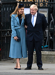 Boris Johnson and Carrie Symonds leaving after the Commonwealth Day Service, Westminster Abbey, London. Picture credit should read: Doug Peters/EMPICS