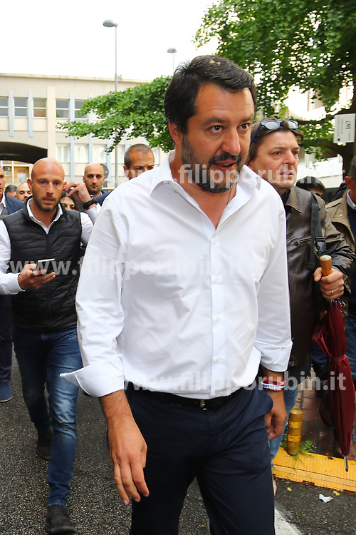 MATTEO SALVINI MINISTRO DELL'INTERNO E LEADER LEGA A FERRARA PER SOSTENERE LA CANDIDATURA A SINDACO DI ALAN FABBRI