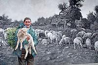 Italie, Sardaigne, peinture murale dans le village de Tinnura // Italy, Sardinia, Mural painting at Tinnura.