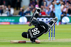 Henry Nicholls of New Zealand falls over trying to take a quick single - Mandatory by-line: Robbie Stephenson/JMP - 14/07/2019 - CRICKET - Lords - London, England - England v New Zealand - ICC Cricket World Cup 2019 - Final
