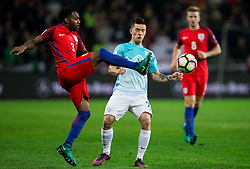 Danny Rose of England vs Benjamin Verbic of Slovenia during football match between National teams of Slovenia and England in Round #3 of FIFA World Cup Russia 2018 Qualifier Group F, on October 11, 2016 in SRC Stozice, Ljubljana, Slovenia. Photo by Vid Ponikvar / Sportida