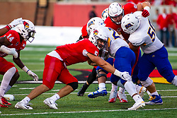 NORMAL, IL - September 07: Zeke Vandenburgh works to stop ball carrier Jovan Smith during a college football game between the ISU (Illinois State University) Redbirds and the Morehead State Eagles on September 07 2019 at Hancock Stadium in Normal, IL. (Photo by Alan Look)
