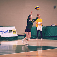 3rd year setter, Kirstin Greve (17) of the Regina Cougars during the Women's Volleyball home game on Sat Jan 19 at Centre for Kinesiology, Health & Sport. Credit: Arthur Ward/Arthur Images